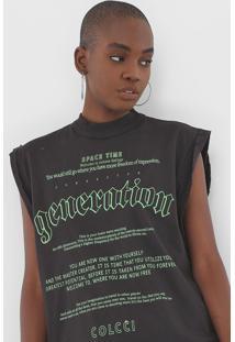 Camiseta Colcci Lettering Neon Preta