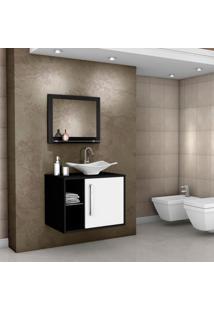 Conjunto Para Banheiro Com 1 Porta Baden - Bechara - Preto / Branco