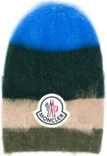 Moncler Mohair Blend Stripe Knit Hat - Verde