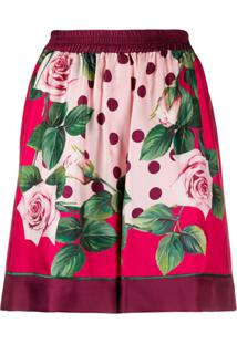 Dolce & Gabbana Short Com Estampa De Rosas