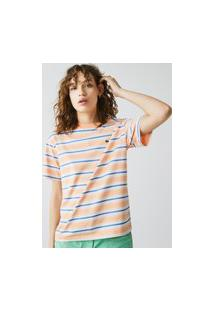 Camiseta Feminina Em Algodáo Listrado Com Decote Careca Laranja