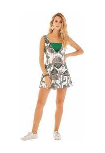 Vestido Curto Decote V Com Top Verde M