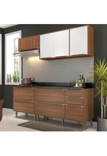 Cozinha Compacta Calábria 7 Portas Com Tampo E Pés Nogueira/Branco - Multimóveis