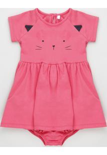 Vestido Infantil Gatinho Manga Curta Pink
