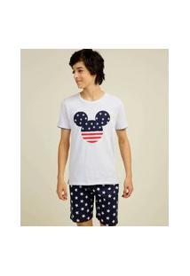 Pijama Juvenil Manga Curta Mickey Disney Tam 10 A 16
