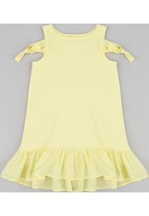 Vestido Infantil Em Moletom Com Nó E Babado Decote Redondo Amarelo