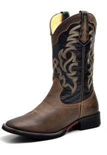 Bota Country Texana Top Franca Shoes Mustang Preto E Café