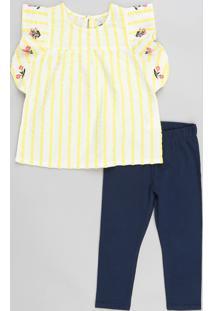 Conjunto Infantil De Regata Estampada Listrada Com Babados Branca + Calça Legging Azul Marinho