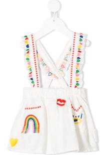 Stella Mccartney Kids Vestido Salopete Com Bordado De Corações - Branco