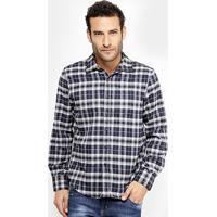 Camisa Xadrez Broken Rules Flanelada Masculina - Masculino-Azul 9675fe02e6766