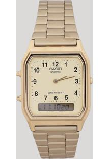 04b9584e588 Relógio Analógico Casio Unissex - Aq230Ga9Bmq Dourado - Único