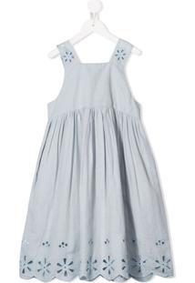 Stella Mccartney Kids Vestido Com Bordado Inglês - Azul
