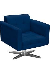 Poltrona Decorativa Elisa Suede Azul Marinho Com Base Giratória Em Aço Cromado - D'Rossi