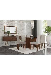Conjunto Mesa De Jantar Zafira Com 6 Cadeiras Marrom Rv Mã³Veis - Marrom - Dafiti