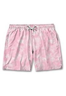 Bermuda Short Masculino Moda Tactel Praia Rosa Tie Dye