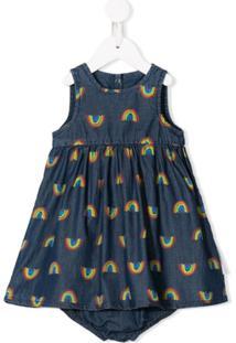 Stella Mccartney Kids Vestido Jeans Com Estampa Arco-Íris - Azul