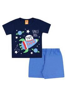 Pijama Bebê Masculino Curto Meia Malha Azul Marinho Foguete E Shorts Azul (1/2/3) - Gueda Kids - Tamanho 3 - Azul,Azul Marinho