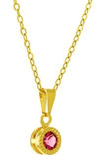Gargantilha Horus Import Ponto Luz Redondo Rosa Banhada Ouro 18 K 1061111