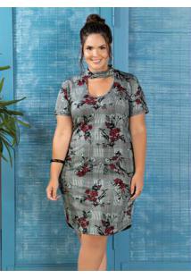 52cec88cf7692e Vestido Choker Jacquard Plus Size Floral Xadrez