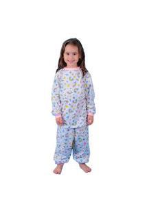 Pijama Manga Longa Unicórnio Arco Iris 100% Algodão Branco