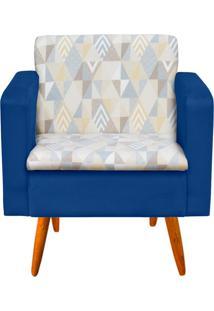 Poltrona Decorativa Emília Linho A17 Com Suede Azul Royal - D'Rossi