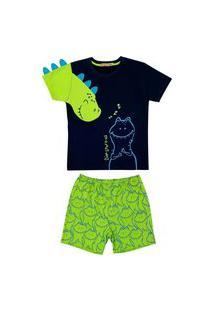 Conjunto Pijama De Dinossauro Douvelin Azul