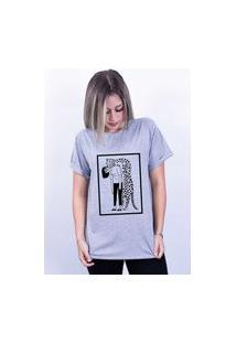 Camiseta Bilhan Corte A Fio Onça Abraço Gde Cinza
