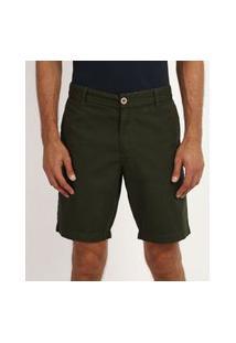 Bermuda De Sarja Masculina Reta Com Bolsos Verde Escuro