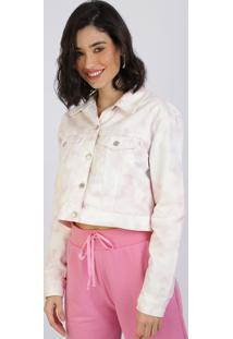 Jaqueta De Sarja Feminina Cropped Estampado Tie Dye Lilás