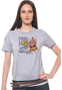 Camiseta Feminina Joss - Pizza - Feminino-Mescla