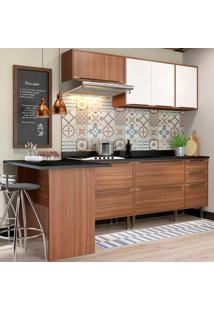 Cozinha Compacta Com Tampo 6 Peças 5455 Calábria - Multimóveis - Nogueira / Branco