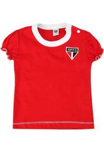 Camiseta Baby Look Bebê Menina São Paulo Oficial