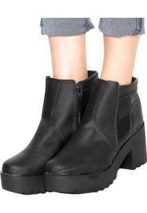 Bota Chunky Dafiti Shoes Textura Preta