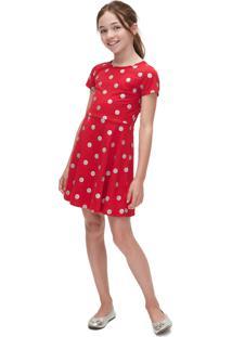 Vestido Gap Infantil Curto Poás Glitter Vermelho