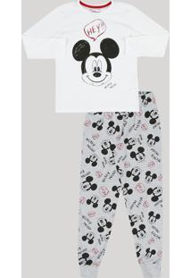 3a917bdb8 Pijama Infantil Mickey Mouse Manga Longa Gola Careca Cinza Mescla