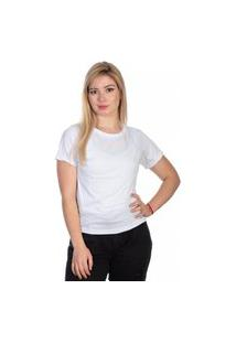 Camiseta Feminina Lisa Gola Careca Manga Curta Básica Branco