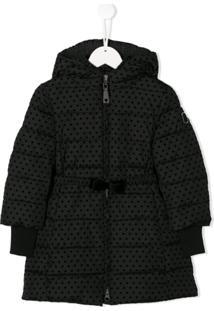 Monnalisa Padded Spotted Coat - Preto