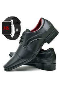 Sapato Social Fashion Com Relógio Led Silver Dubuy 832El Preto
