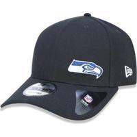 a828eb3690a38 Boné 940 Seattle Seahawks Nfl Aba Curva Snapback New Era - Masculino-Preto