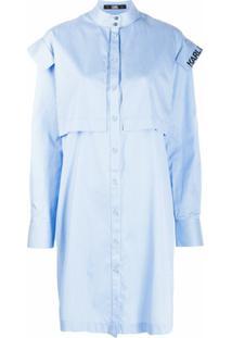 Karl Lagerfeld Vestido Com Listras E Acabamento Engomado - Azul