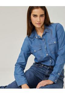 Amaro Feminino Camisa Jeans Essential, Azul Medio