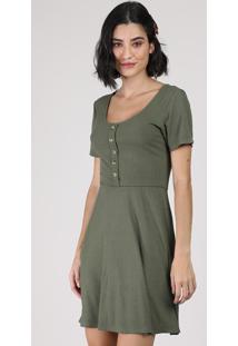 Vestido Feminino Curto Canelado Com Botões Manga Curta Verde Militar
