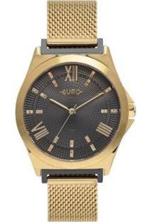 Relógio Euro Analógico Double Lugs Feminino - Feminino-Dourado