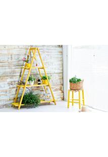Estante Escada De Madeira Maciça Dobrável 3 Prateleiras Stain Amarelo Mão E Formão - 120X35X150 Cm