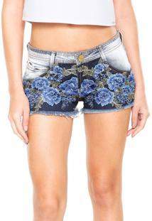 Short Jeans Lança Perfume Reto Low Mini Azul