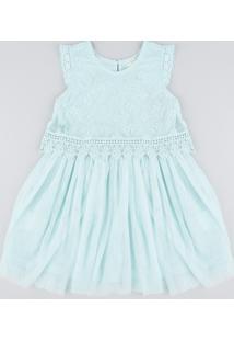 Vestido Infantil Em Tule Com Renda Sem Manga Verde Claro