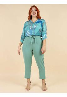 Camisa Estampada Almaria Plus Size Peri Azul