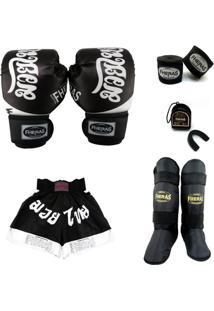 Kit Muay Thai Top Luva Bandagem Caneleira Shorts Bucal 08 Oz Tailândes - Masculino