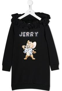Monnalisa Vestido Jerry Com Bordado E Capuz - Azul