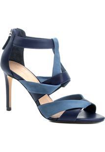 ca2cb59c0e Sandália Couro Shoestock Salto Alto Bicolor Feminina - Feminino-Azul